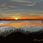 "Lakeside Sunset 16"" x 20"""